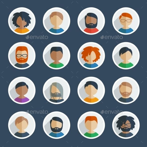 Collection of 16 colorful flat user male icons different characters, age and race for avatars in social networks, and communicatio