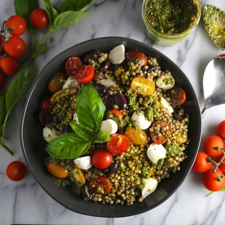 If, like us, you have a mountain of basil in your garden, go make pesto! And then make this pesto couscous salad and feel damn proud of yourself.