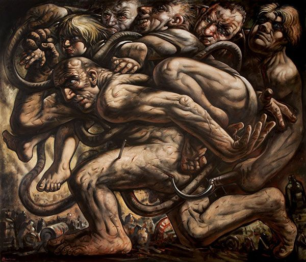 Peter Howson - The First Step, Oil, (2000)