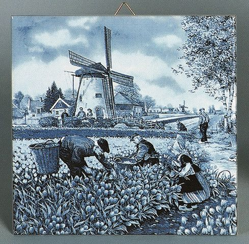 Ceramic collectible scenic tile featuring a classic Dutch scene in a tulip field pciking tulips which is painted by famous Dutch landscape artist JC van Hunnik. - Approximate Dimensions (Length x Widt