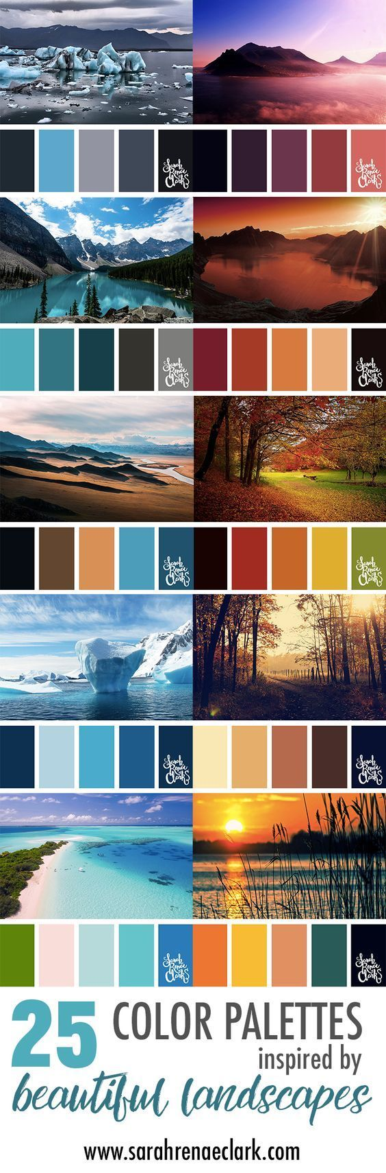 These amazing landscapes are a great source of color inspiration   Click to see all 25 color combinations inspired by beautiful landscapes. You can find more color schemes at http://sarahrenaeclark.com   Colour palettes, colour schemes, color therapy, mood board, color hues and tones