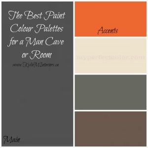 These paint colour palettes for a Man Cave or Man room should make the hubby happy! Focusing on gray, brown and tan, with blue, orange and red accents - some great paint colour palettes (using Benjamin Moore paints)