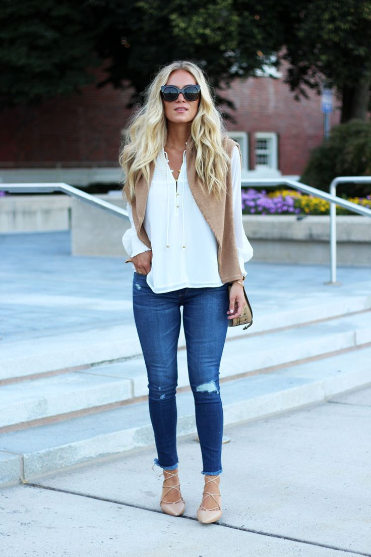 Perfect Fall Style - White Top, Denim, Lace Up Flats, Draped Sweater