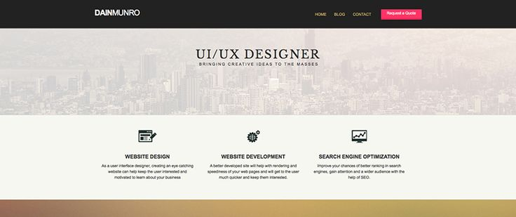 Homepage design of portfolio site