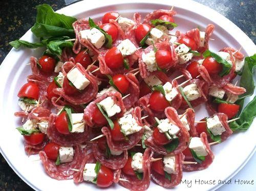Quick & easy appetizer....Salami, tomato, basil & marinated feta