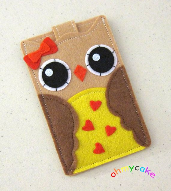 """iPhone Case - Cell Phone Case - iPhone 4 Case - iPod Case - iPod Touch Case - Handmade iPhone Felt Case - """" Tan Owl """" Design"""