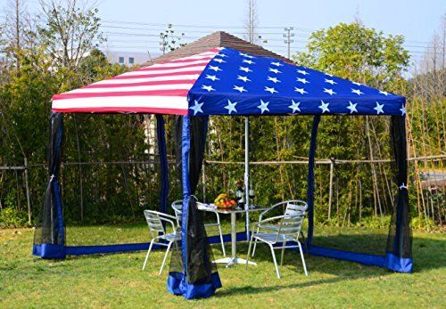 Outsunny 10' x 10' Pop-Up Canopy Shelter Party Tent with Mesh Walls - American Flag