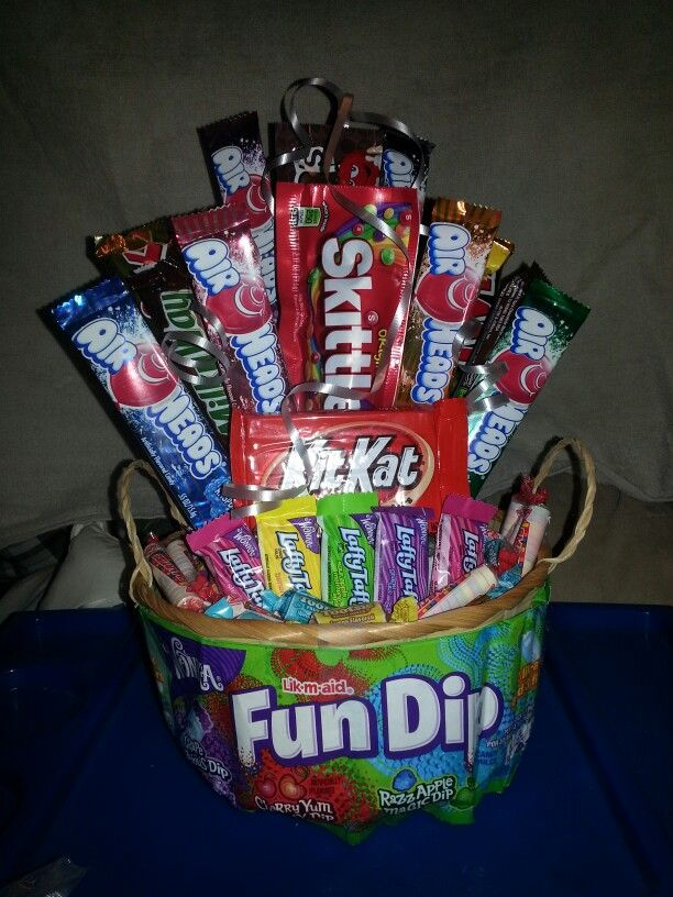 Candy basket to raffle at a jack-n-jill party.