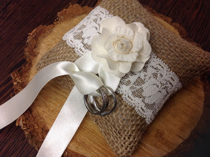 Bespoke handcrafted 'doggie' mini ring cushion, threads onto dogs collar to enable the dog to be the 'ring bearer' #wedding #dog #rings #ring bearer #hessian #lace #ivory #unique #bespoke