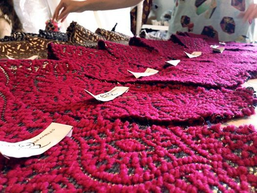 AW14 linings in the making #metallic #merino #pink