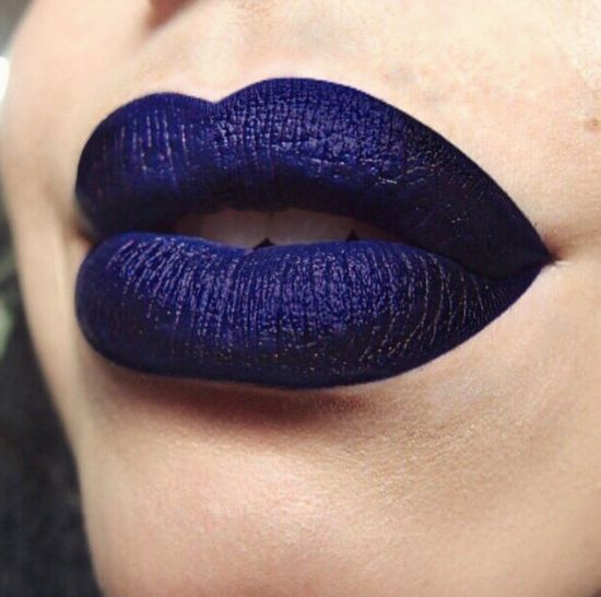 """""""BlueberrySucker!"""" - true blue ombre lip with a deep purple blue or even black color around edges. #stunning."""