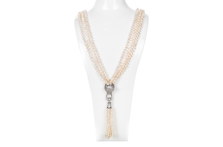 Jaguar White Cultured Freshwater Long Pearl Necklace 6-7mm