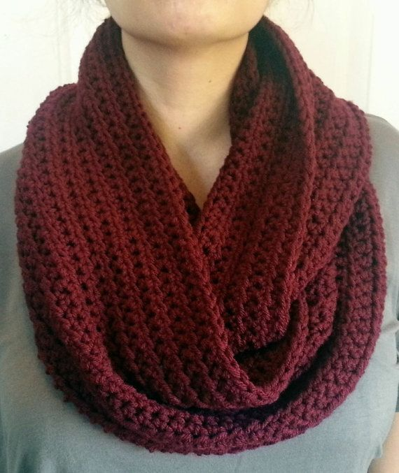 Hey, I found this really awesome Etsy listing at https://www.etsy.com/listing/162975227/maroon-infinity-scarf-crocheted