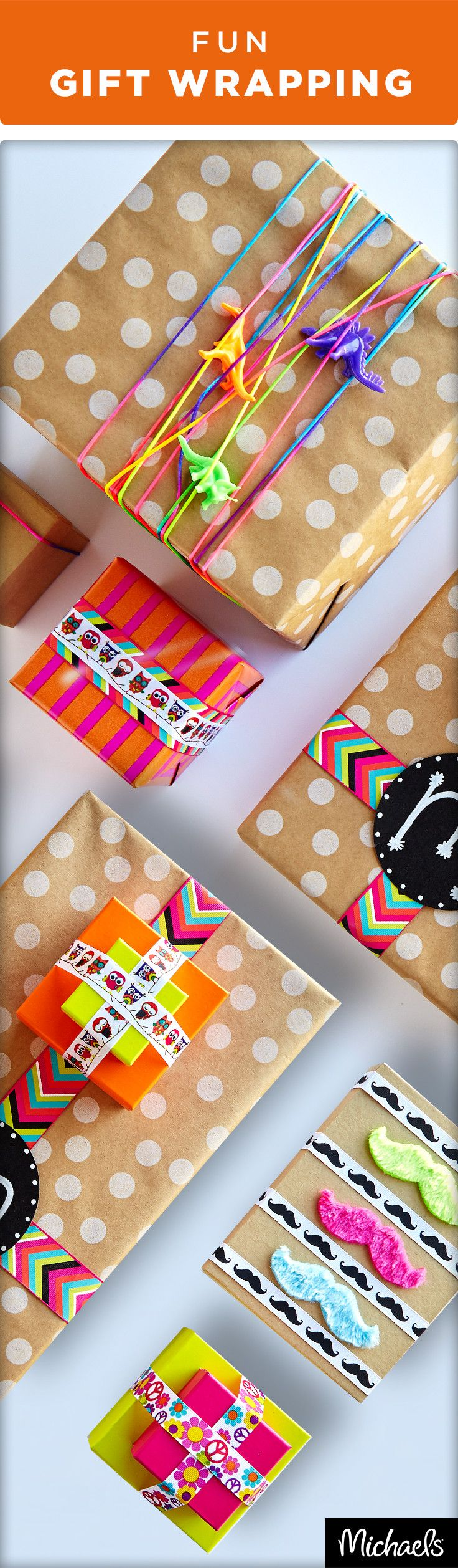 Add a little fun to your party packages with fun ribbons and mustache embellishments. Kraft wrapping paper can go a long way when you add colorful details. Get all of these fun gift wrapping supplies at your local Michaels store.