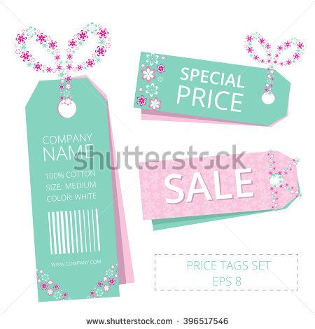 Vector price tags set with a bow. Vector price tags set with flowers design