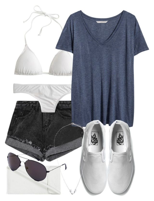 """Isaac Inspired Pool Party Outfit with a White Bikini"" by veterization ❤ liked on Polyvore featuring J.Crew, H&M, Vans, Topshop and Forever 21"