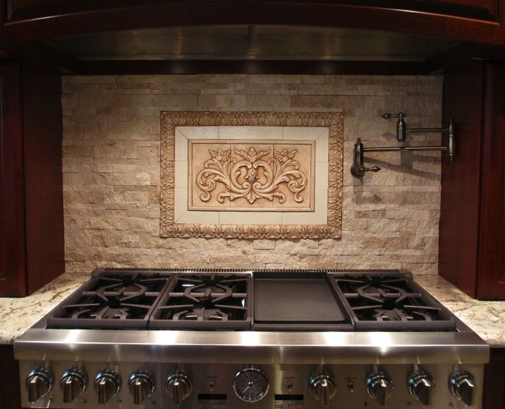 Enthralling Kitchen Tile Medallion Backsplash With Faux Metal Kitchen Stove Also Marble Kitchen Countertop From Kitchen