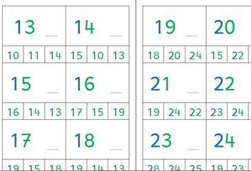 Le nombre qui vient après ( 1 à 24) : 2 versions (Montessori et standard)