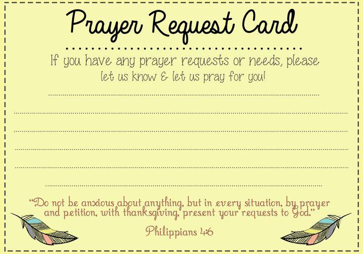 Prayer Request card idea