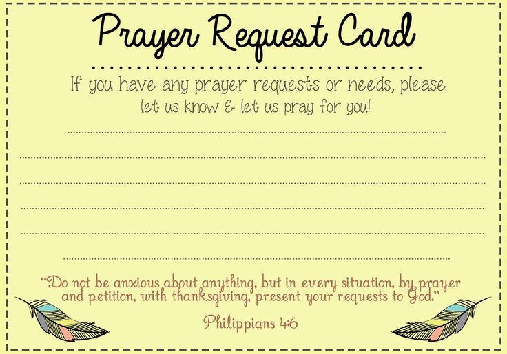 Prayer Request card idea