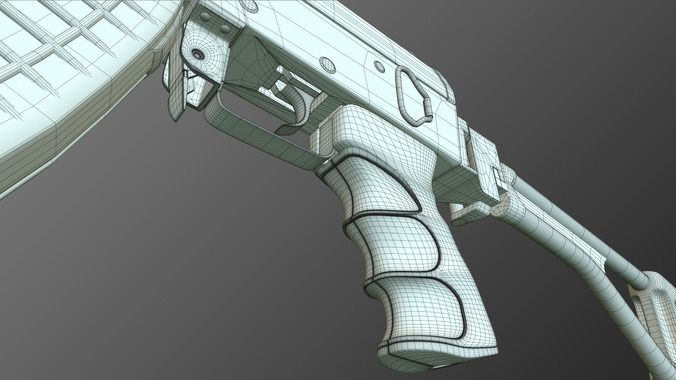 tactical ak-47 model only pack 3d model  4