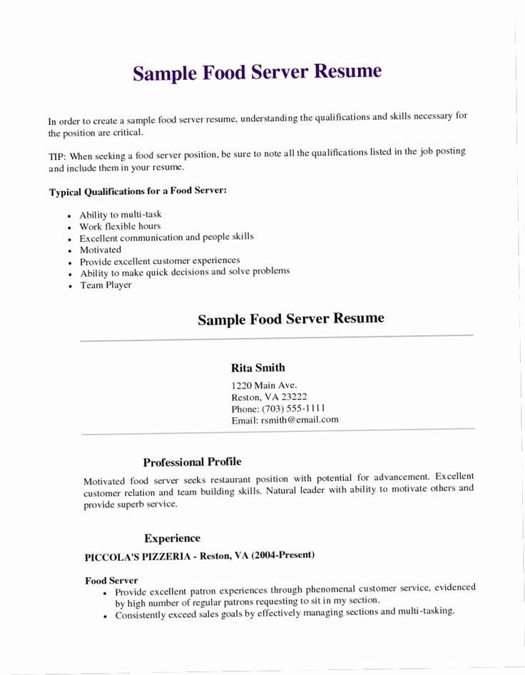 20 Server Job Description Resume in 2020 Job posting