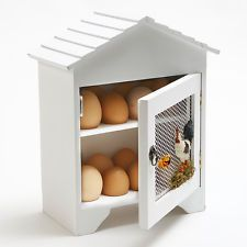 SHABBY CHIC  WHITE 16 EGG HOLDER HOUSE CHICKEN STORAGE BOX CUPBOARD CABINET