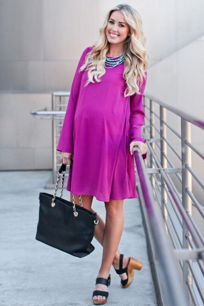 Magenta-Chiffon-Bell-Sleeve-Maternity-Dress