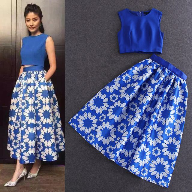 2015 autumn women's brand designer clothing women's set sleeveless tops ankle length a-line skirts full skirts blue US $69.99 /piece  Specifics Style	Casual Gender	Women Decoration	None Sleeve Style	Bell Closure Type	None Material	Cotton,Polyester Pant Closure Type	Zipper Fly  Click link to buy other product http://goo.gl/p8JMyk