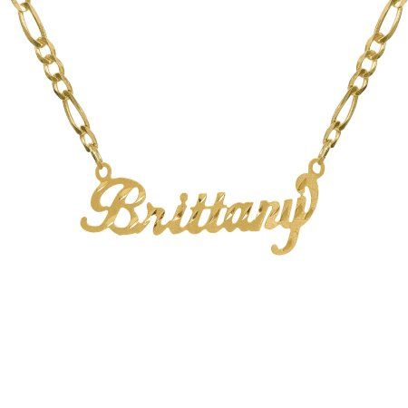 c41b056ff6748 Personalized 14K Gold Over Sterling Silver Diamond Cut Nameplate ...