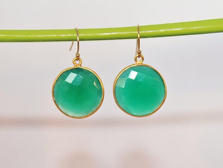 22k Gold Vermeil Bezel Set Framed Coin Chrysoprase Green Gemstone Drop Earring - Graduation Gift - Bridesmaids Jewelry