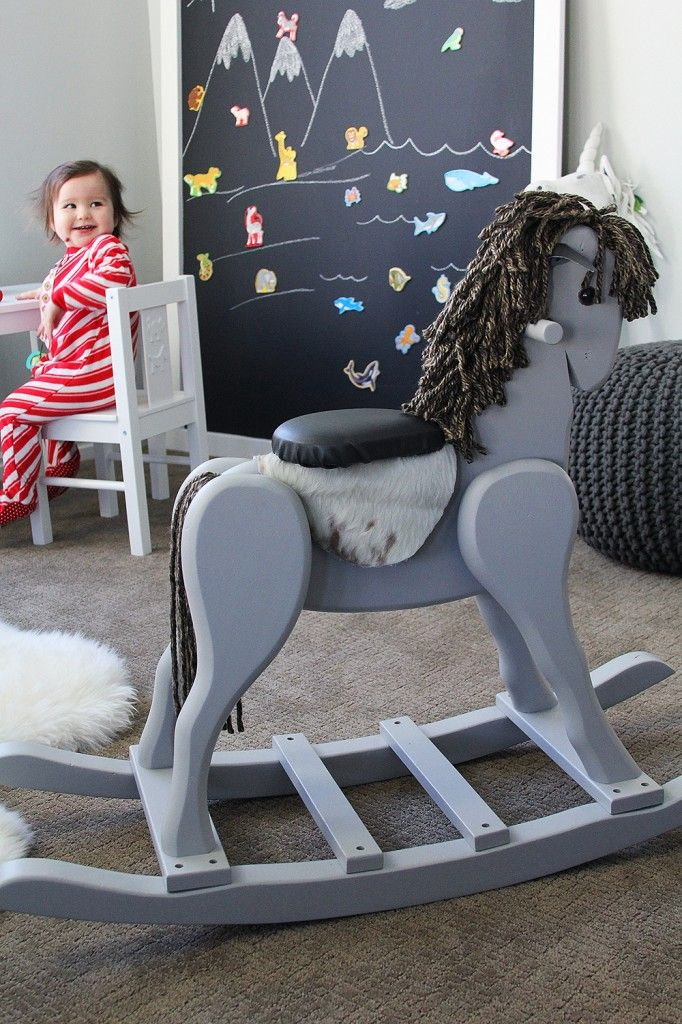 A rescued thrift store wooden rocking horse turned into this, for under $20 (including the horse!).