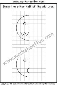 Draw the other half – Smiley Face – Mad & Surprised – One Worksheet