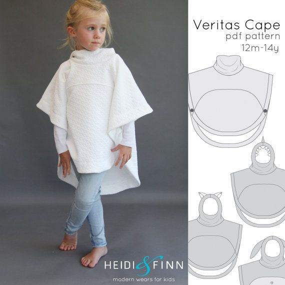 The Veritas cape is a simple, comfy and modern staple in any child's closet. This generous sized poncho style cape is a great 3 season piece.  Made with stable knits that focus on volume vs drape, this cape is incredibly easy to sew. The practical hi-low hem and optional slim cowl or hood with various ears/embellishments make this a very versatile design that you will want to sew over and over again with many different results  Perfect for Dress up too! The possibilities are endless! This…