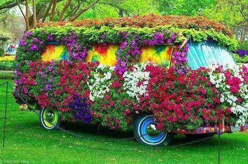 Groovy!Minis Vans, Bus, Flower Power, Peace Love Happy, Peace And Love, Gardens Art, Flower Children, Old Cars, Vw Vans