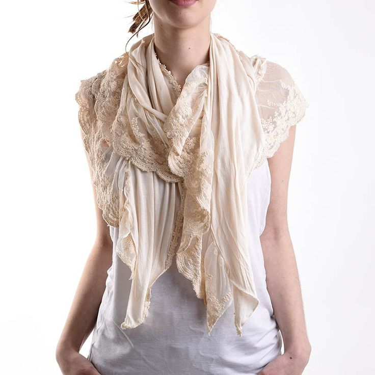 SCARF IN ΒΕIGE COLOR WITH LACE - Scarfs/Sun Dresses