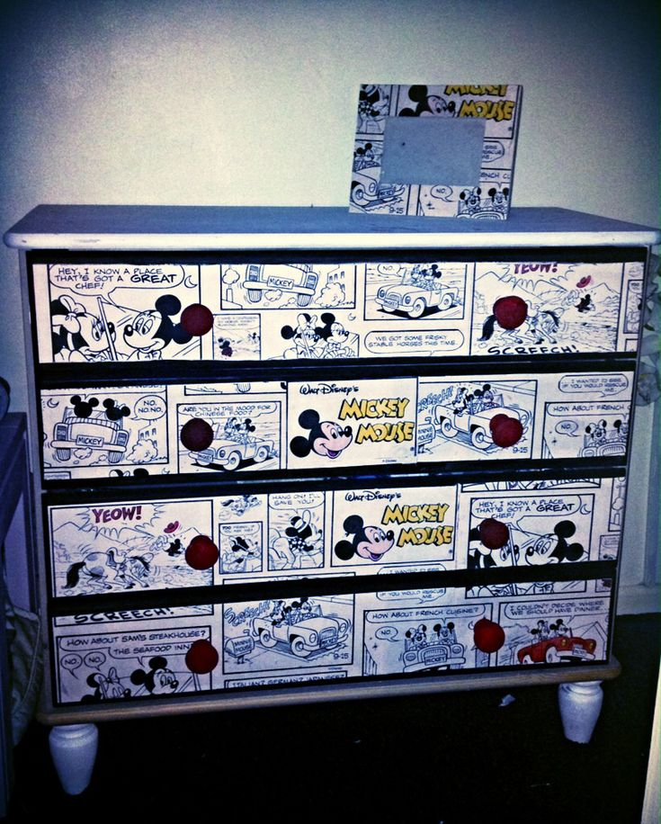 Mickey Mouse drawers using wallpaper sample