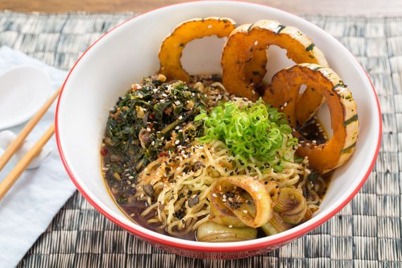 Caramelized Leek & Barley Miso Ramen with Delicata Squash & Fresh Ramen Noodles. Visit https://www.blueapron.com/ to receive the ingredients.