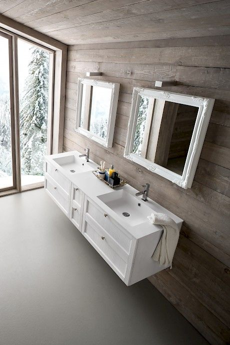 DIAMANTE | DM2 | Compab. Structure 252 lacquered spruce (K1 white) Doors 252 lacquered spruce (K1 white) Washbasin PLANO washbasin in Tekor, double basin.