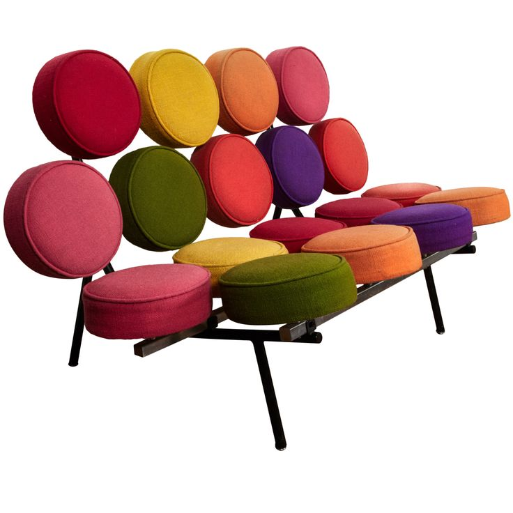 """Marshmallow"" sofa by George Nelson, 1958, seven color hopsack wool cushions"