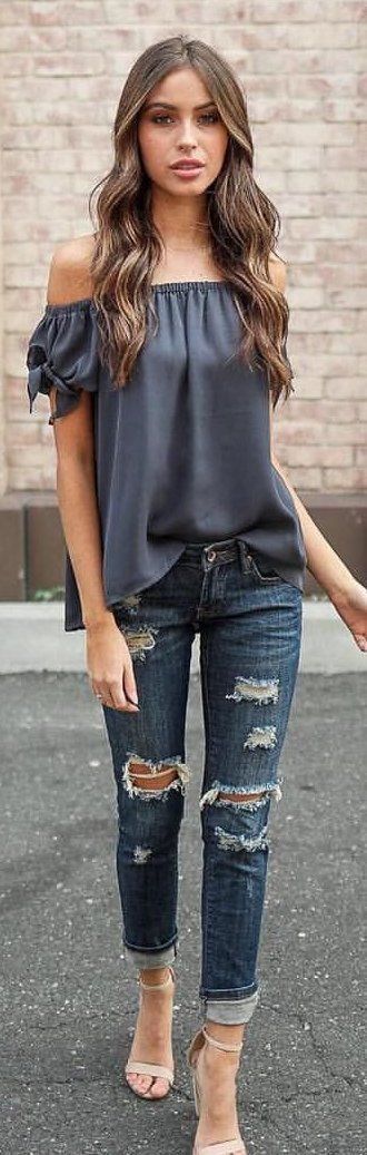 #winter #outfits gray off-shoulder top and distressed whiskered blue fitted jeans. Pic by @vicidolls.