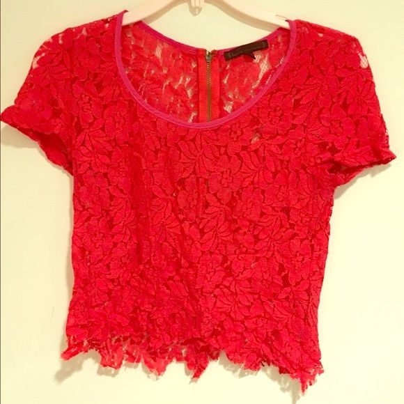 Red Lace Crop Top T-Shirt This beautiful lace top looks amazing with all bottoms even a pink skirt. Lucca Couture Tops Tees - Short Sleeve