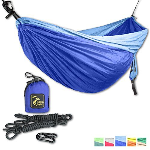 nice Double Eagle Camping Hammock Set - Incl. 2 carabiners and 2 ropes - 118 x 78 in - 600 lbs load - Top Rated Best Quality Lightweight Parachute Nylon 210T. X-MAS GIFT. 2 YEARS-WARRANTY.