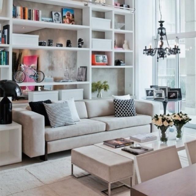 : Bookshelves, Idea, Living Rooms, Wall Of Shelves, Built In, Books Shelves, Interiors Design, High Ceilings, Design Home