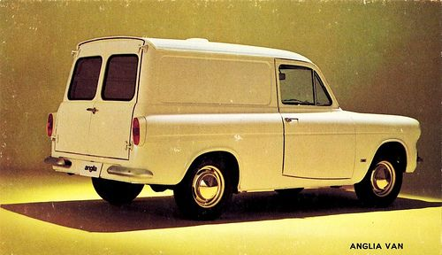 Ford Anglia my dad had this van its name was Mildred we loved this van it was mega fast we all cried when he sold it :-(