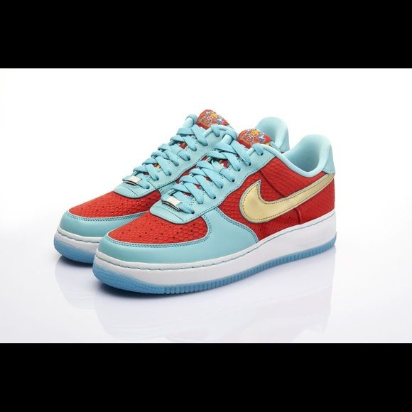 Nike Air Force Ones Nike air forces. Rare pair of year of the dragon shoes. Only made them for one year. Bought and wore one or two times very rare and good price for this pair. Willing to go down in price. Nike Shoes