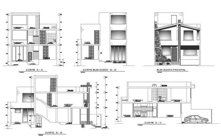 Elevation and section drawing of residential apartment 2d