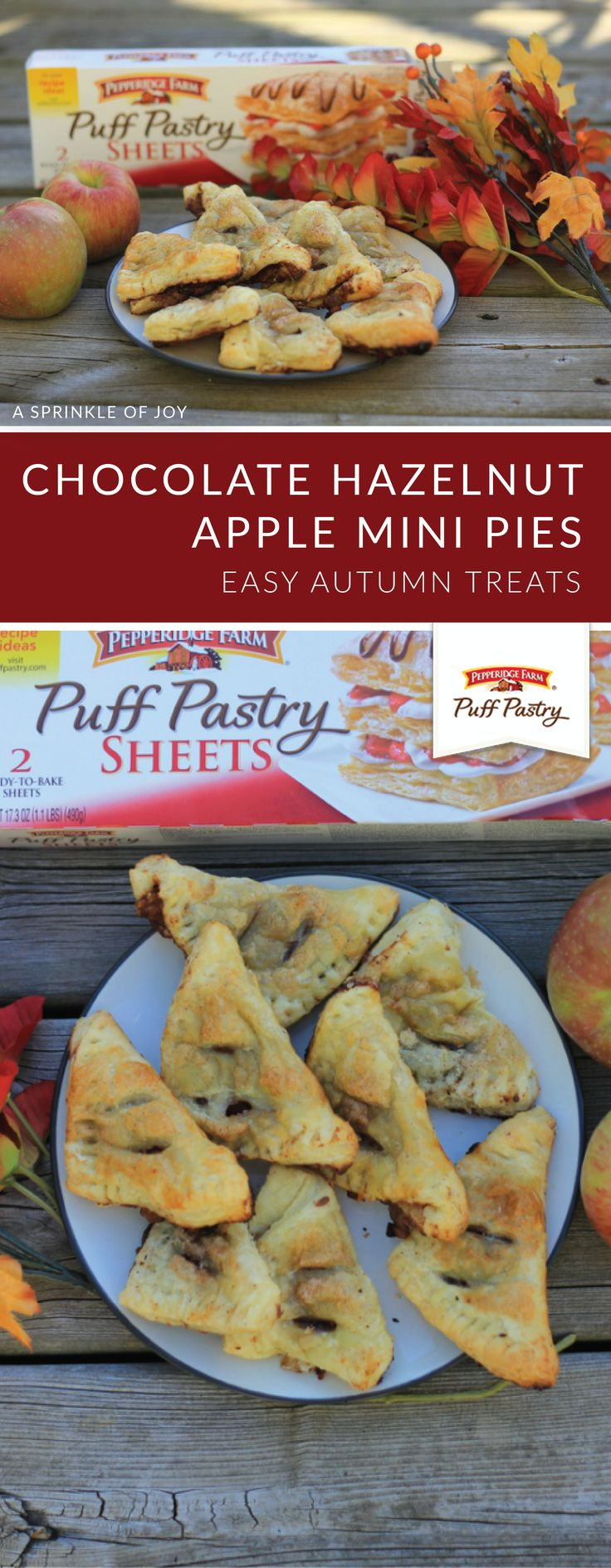 These Chocolate Hazelnut Apple Mini Pies from Danielle, of A Sprinkle of Joy, are an easy treat that you can serve at all of your fall parties. Start by filling Pepperidge Farm® Puff Pastry Sheets with chocolate hazelnut spread. Then, add in the sweet taste of fresh apples, cinnamon, allspice, nutmeg, and brown sugar to complete this indulgent dessert recipe.