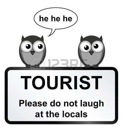 Monocromatico cartello turistico comico con gufi isolato su sfondo bianco photo