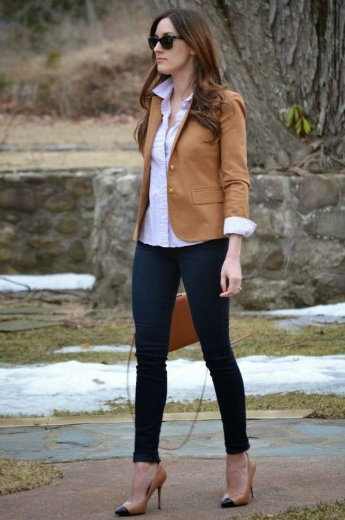 Womens blazer and jeans look